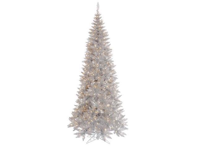 Silver Slim Christmas Tree Part - 42: Vickerman K166781LED 9 Ft. X 46 In. Silver Slim Christmas Tree With 700 Warm