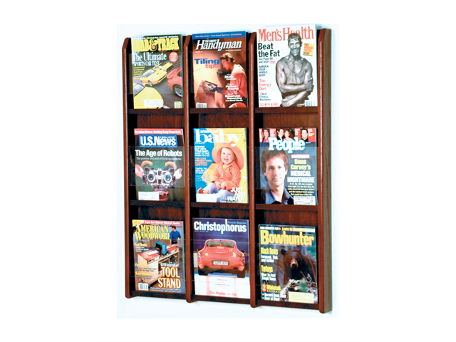 Wooden Mallet Divulge 9 Magazine Wall Display Stand / Rack Mahogany