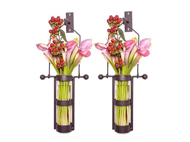Danya B Home Decorations Wall Mount Hanging Glass Cylinder Vase Set with Metal Cradle and Hook