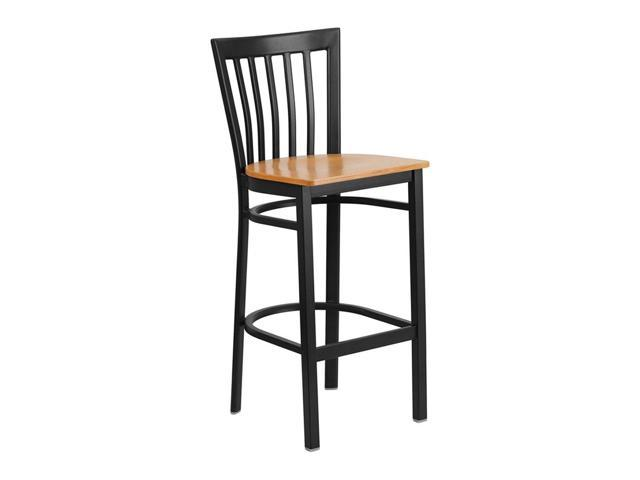 HERCULES Series Black School House Back Metal Restaurant Barstool - Natural Wood Seat