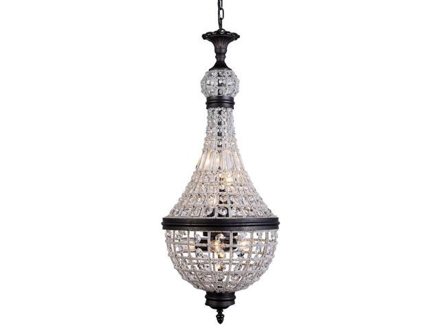 Elegant Lighting 1209 Stella Collection Pendant Lamp D-13.5in H-30in Lt-6 Dark Bronze Finish Royal Cut Crystal-Clear-1209D13DB-RC
