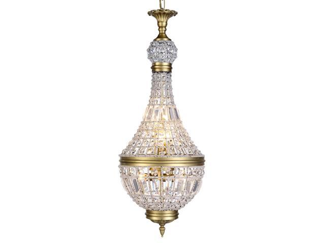 Elegant Lighting 1209 Stella Collection Pendant Lamp D-13.5in H-30in Lt-6 French Gold Finish Royal Cut Crystal-Clear-1209D13FG-RC