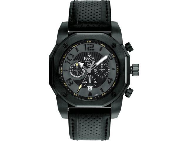 Bulova Marine Star Black Dial Chronograph Mens Watch 98B151
