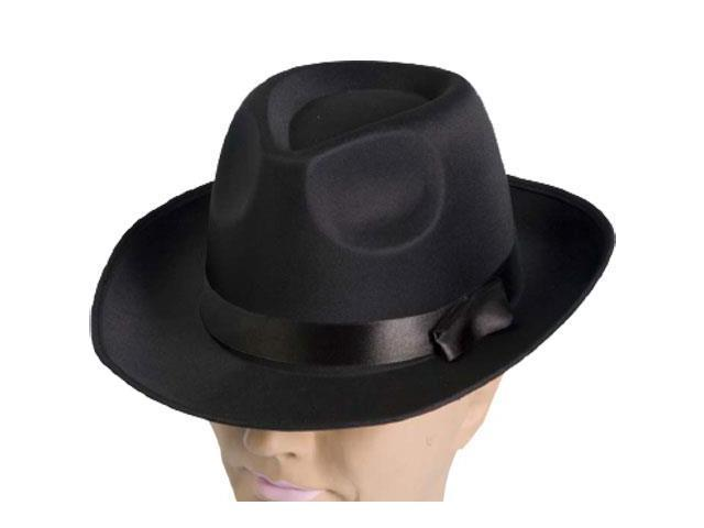 Black Satin Fedora Flapper Adult Costume Hat