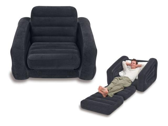 intex 68565e inflatable pullout chair u0026 twin bed mattress sleeper