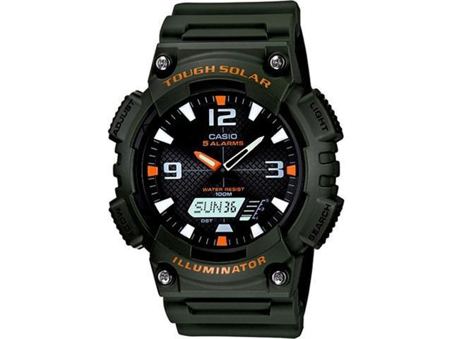 Casio Men's Sport AQS810W-3AV Green Resin Quartz Watch with Black Dial