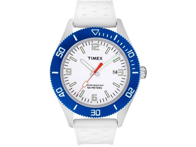 Timex Men's Originals T2N535 White Silicone Quartz Watch with White Dial