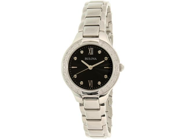 Bulova Women's Diamond 96R207 Silver Stainless-Steel Quartz Watch