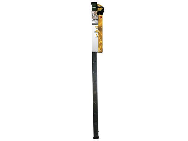 PRIME PB800012 12-Outlet, 4 Foot Metal Power Strip, Black