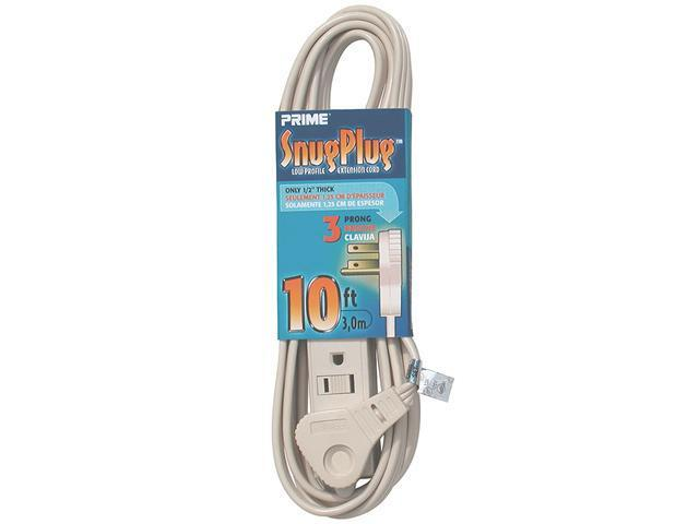 PRIME EC940610 Snug Plug 3-Outlet Household Extension Cord, Almond