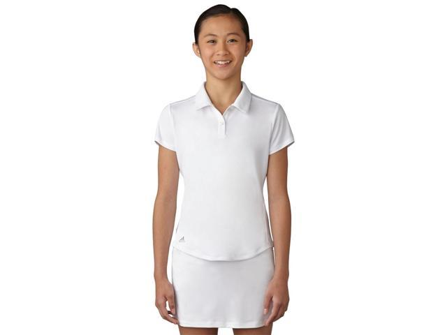 Adidas Golf 2017 Girl's Performance Short Sleeve Polo Shirt (White - S)