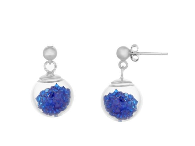 Sterling Silver Dark Blue Cubic Zirconium Filled Ball Earrings