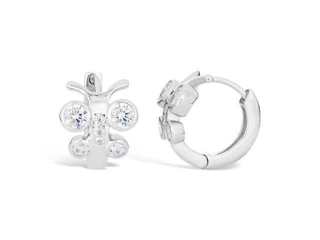 Sterling Silver Butterfly Huggie Hoop Cubic Zirconium Earrings
