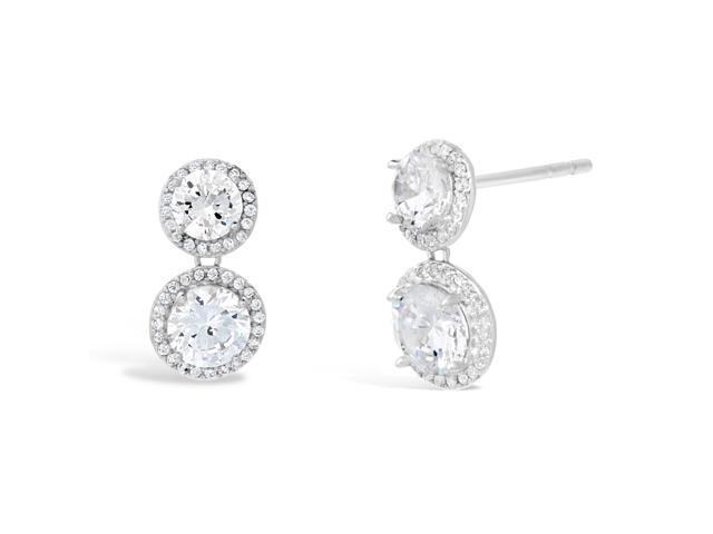 Sterling Silver Round Halo Dangling Cubic Zirconium Earrings