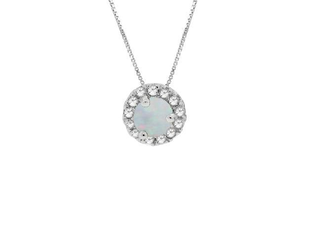 .30 Ct Round White Opal Diamond Accent Sterling Silver Birthstone Pendant