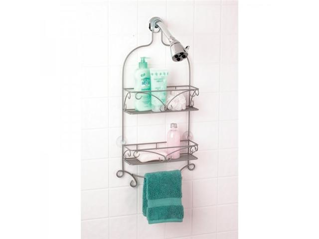 Pearl Nickel Scroll Design Shower Caddy - by Zenith