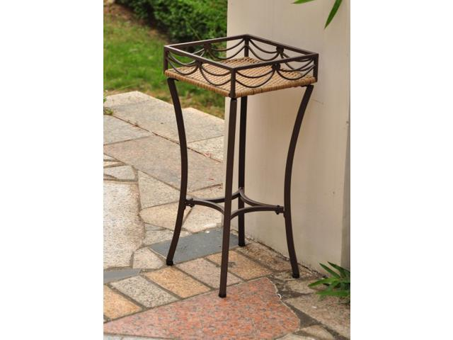 Valencia Resin Wicker / Steel Square Plant Stand - by International Caravan