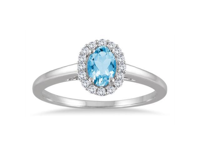 6x4MM Oval Shape Blue Topaz and Diamond Ring in 10K White Gold