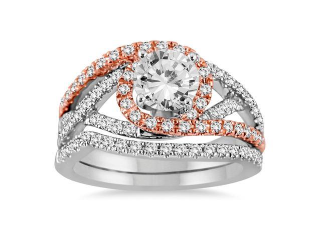 AGS Certified 1 1/2 Carat TW Diamond Bridal Set in Two Tone 14K White Gold (I-J Color, I2-I3 Clarity)