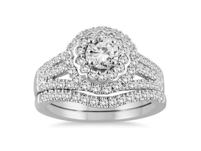 AGS Certified 1 3/4 Carat TW Diamond Bridal Set in 14K White Gold (I-J Color, I2-I3 Clarity)