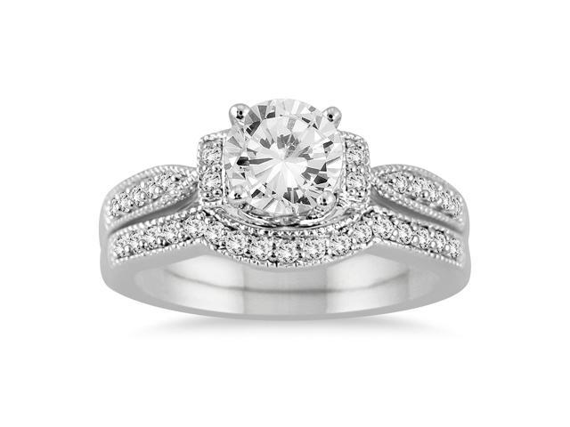 AGS Certified 1 1/4 Carat TW Diamond Bridal Set in 14K White Gold (H-I Color, I1-I2 Clarity)