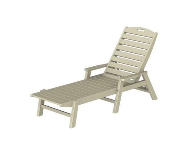 Recycled Earth-Friendly Cape Cod Outdoor Chaise Lounge Chair w/ Arm Rests -Khaki