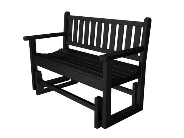 Recycled Earth-Friendly Sand and Sea Outdoor Patio Glider Bench - Black