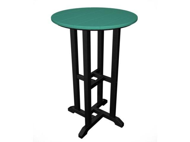 Recycled Earth-Friendly Outdoor Patio Bistro Counter Table - Black and Aqua Blue