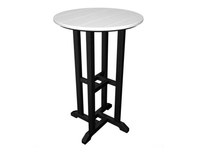 Recycled Earth-Friendly Outdoor Patio Bistro Counter Table - Black and White