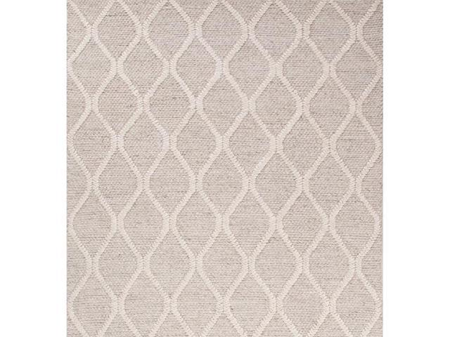 5' x 8' Creamy Beige and Ivory White Tribal Waves Wool Decorative Area Throw Rug