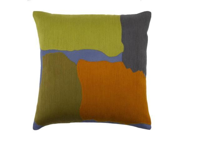 "18"" Olive Drab Green, Golden Orange and Indigo Blue Woven Decorative Throw Pillow"