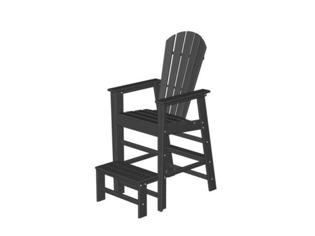 Recycled Earth-Friendly Venice Beach Outdoor Adirondack Lifeguard Chair - Black