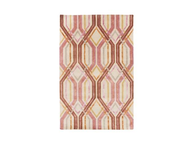 2' x 3' Indefinite Vibrant Chain Blush Pink and Papaya Orange Wool Area Throw Rug