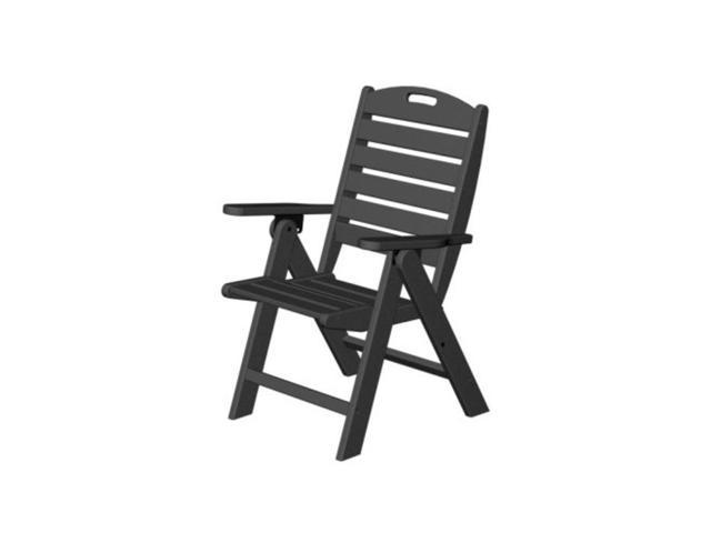 Recycled Earth-Friendlly Cape Cod Outdoor Patio Folding High-Back Chair - Black