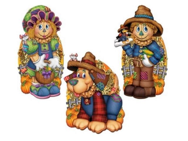 Club Pack of 36 Assorted Scarecrow Halloween Cutouts Holiday Decorations 19