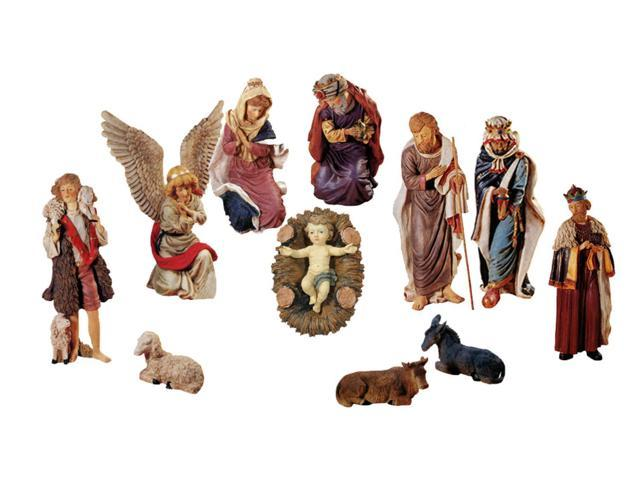 Large 12-Piece Outdoor Nativity Set With Stable Christmas Yard Art Decoration