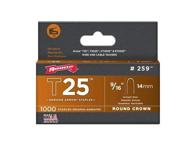 Arrow Fastener 259 T25 9/16 Inch (14mm) Staples, 1000/Pk