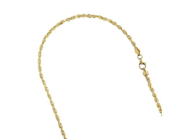 Luxurman Solid 14K Yellow Gold 2.3mm Wide Rope Chain Diamond Cut Necklace with Lobster Clasp 24