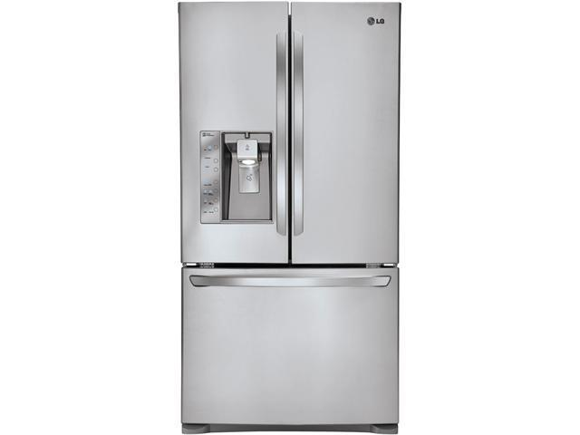 24.6 cu. ft. Counter-Depth French Door Refrigerator with Spill Protector Glass Shelves, Humidity Crispers, Glide N' Serve ...
