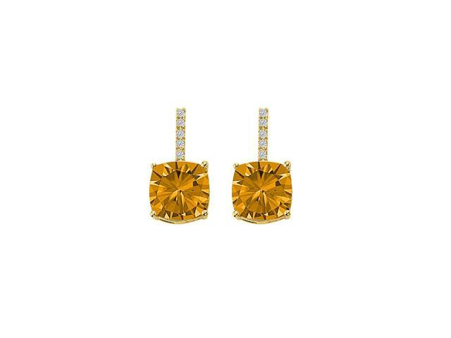 Citrine and CZ Stud Earrings 18K Yellow Gold Vermeil