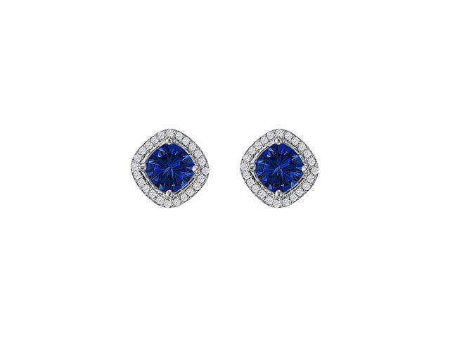 Rhombus Design Square Stud Earrings with Sapphire CZ