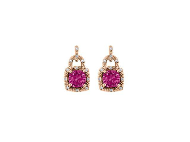 Dream Pink Sapphire CZ Halo Stud Earrings 14K Rose Gold