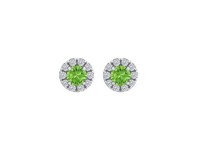 Spring Peridot CZ Round Halo Stud Earrings 925 Silver