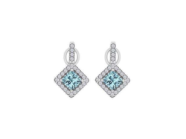 Aquamarine CZ Rhombus Stud Earrings in 14K White Gold