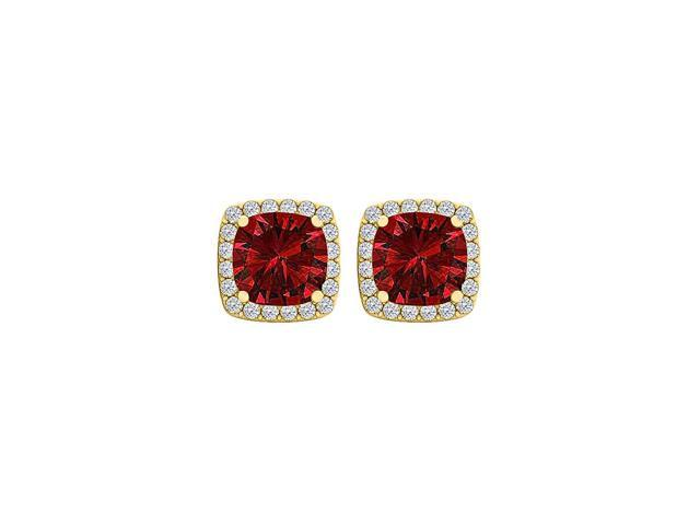 6x6 mm Cushion Cut Ruby and CZ Square Stud Earrings