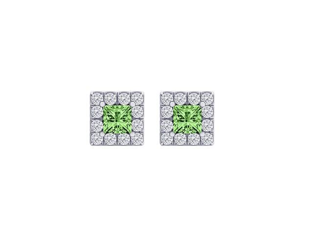 Perfect Square Peridot and CZ Halo Stud Earrings Silver