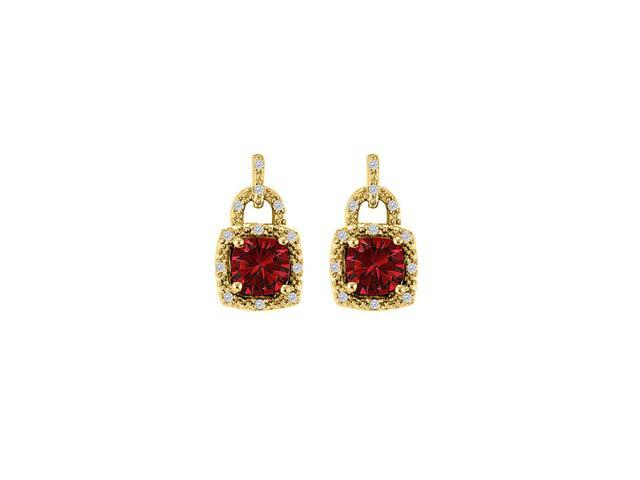 Lock Design Yellow Gold Square Ruby CZ Stud Earrings
