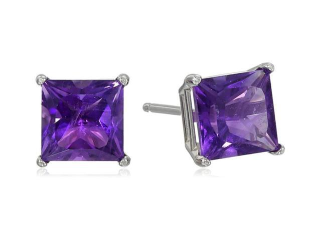 Platinum Over Sterling Silver 2 Ct Princess Amethyst Cz Stud Earrings