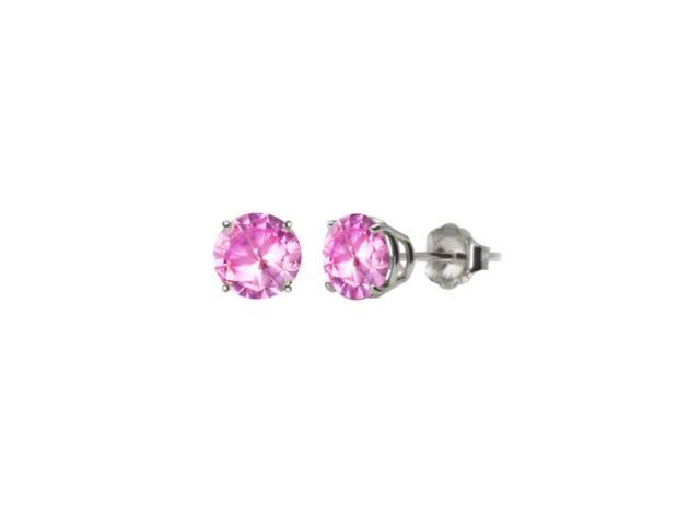 Platinum Over Sterling Silver 1 Ct Pink Round Cz Stud Earrings