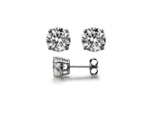 18k White Gold 1/4 Ct Round White Swarovski  Elements Stud Earrings